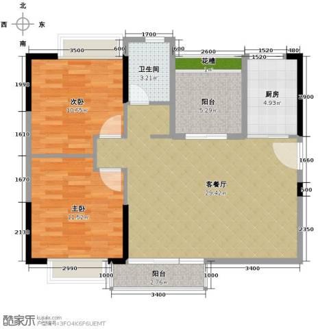 名汇嘉园2室1厅1卫1厨90.00㎡户型图