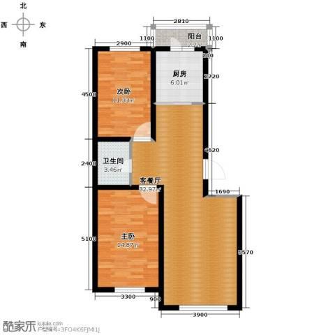 福苑2室1厅1卫1厨101.00㎡户型图
