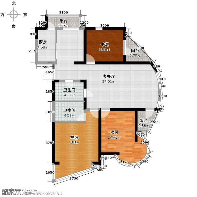 钓鱼台七号116.36㎡房型户型3室1厅2卫1厨