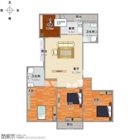 城泰湖韵天成4室1厅2卫1厨149.00㎡户型图