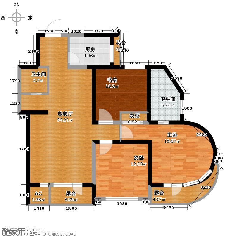 钓鱼台七号111.62㎡房型户型3室1厅2卫1厨