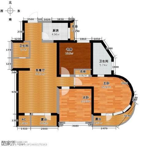 钓鱼台七号3室1厅2卫1厨140.00㎡户型图