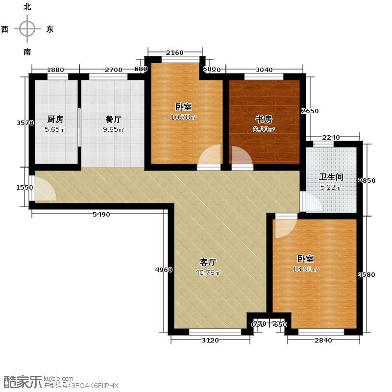 永定河孔雀城英国宫112.00㎡高层22#楼A-7户型3室2厅1卫