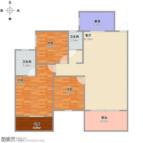 长房天翼未来城4室1厅2卫1厨116.67㎡户型图