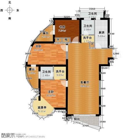 钓鱼台七号3室1厅3卫1厨127.00㎡户型图