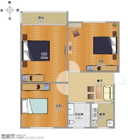 双菱新村3室1厅1卫1厨101.00㎡户型图