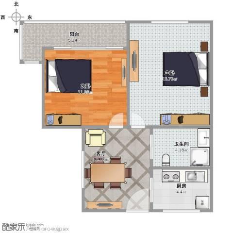 双菱新村2室1厅1卫1厨70.00㎡户型图