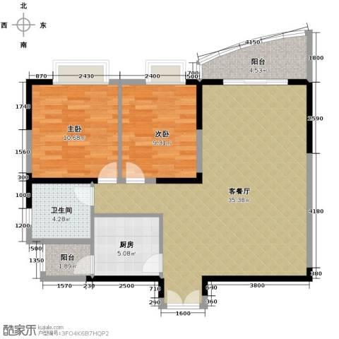 湘隆时代大公馆2室1厅1卫1厨99.00㎡户型图
