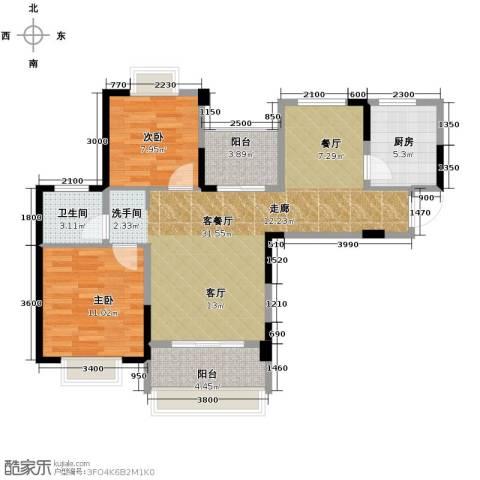 人信太子湾2室1厅1卫1厨95.00㎡户型图