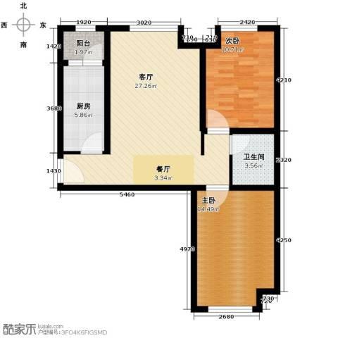 永定河孔雀城英国宫2室2厅1卫0厨73.29㎡户型图
