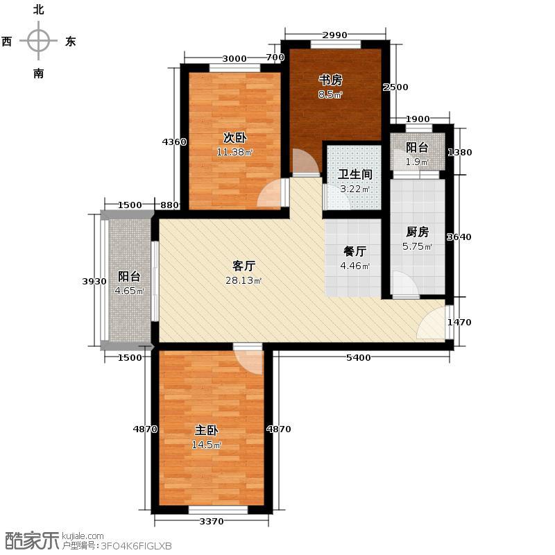 永定河孔雀城英国宫110.00㎡高层25#楼A-10户型3室2厅1卫