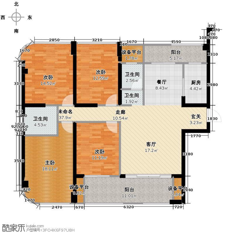 融信白宫143.28㎡A2#A3#楼D1单元户型4室2厅2卫