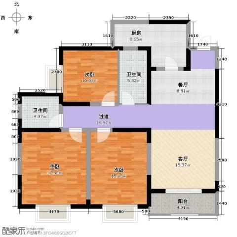 紫郡观澜3室2厅2卫0厨127.00㎡户型图