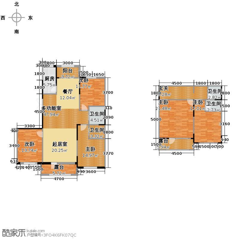 南湖祥水湾217.68㎡越层16#楼A1户型5室4卫1厨