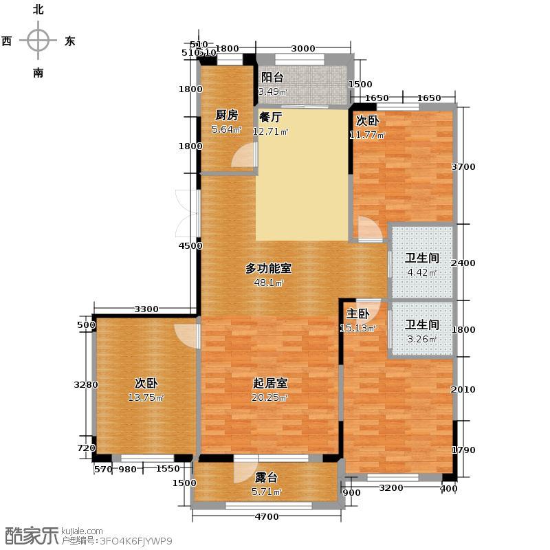 南湖祥水湾147.31㎡越层16#楼A户型3室2卫1厨