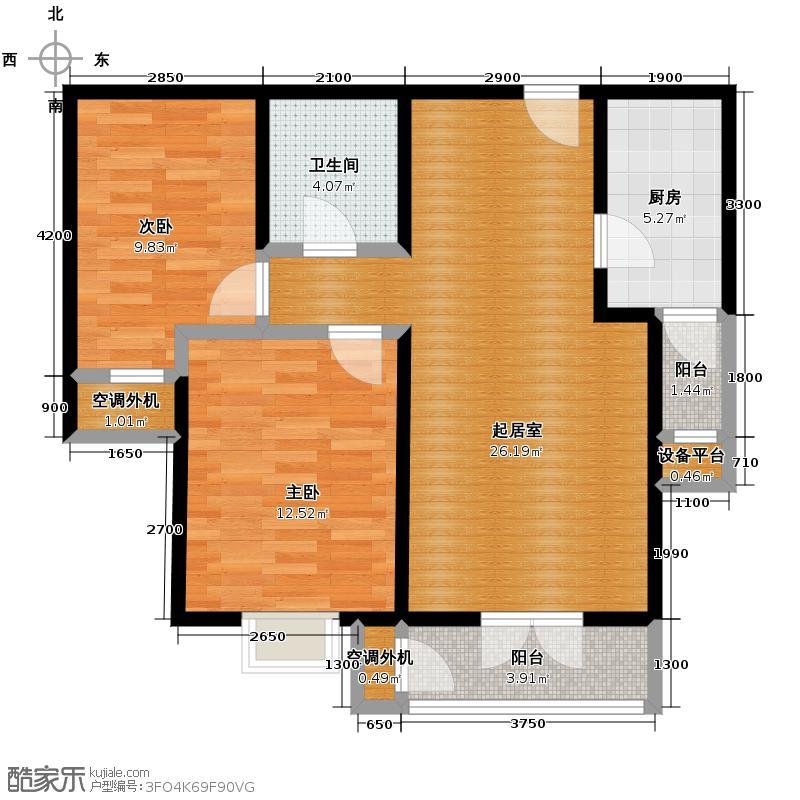 沽上江南75.21㎡高层I户型2室2厅1卫