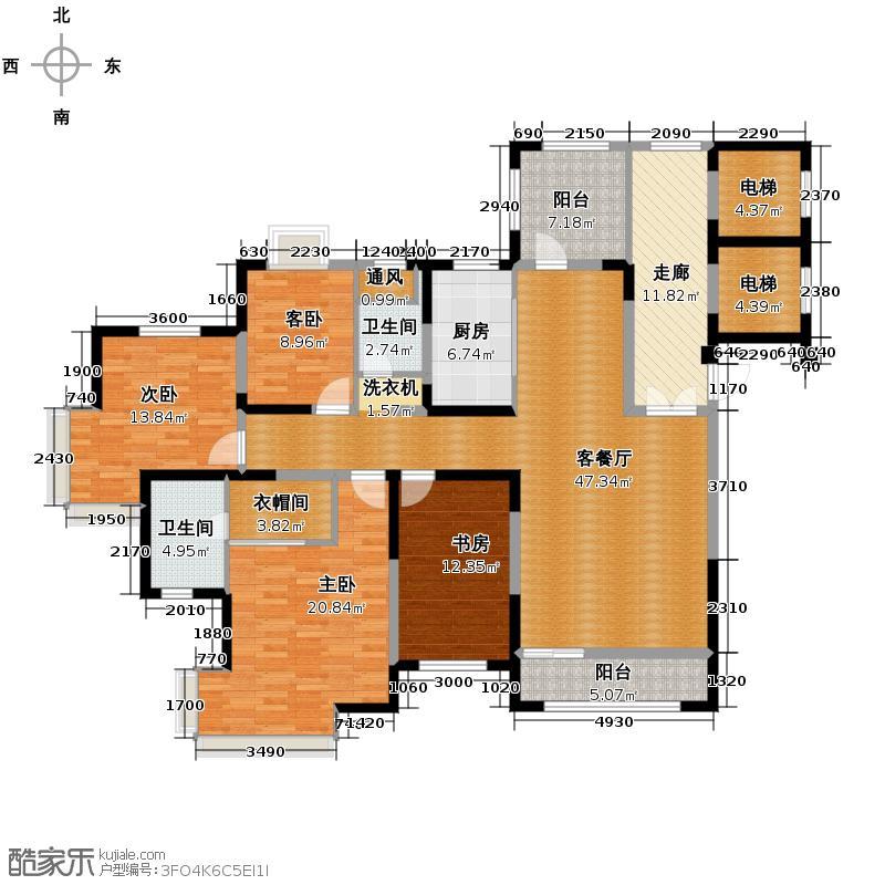 金地国际花园180.00㎡D1户型4室1厅2卫1厨