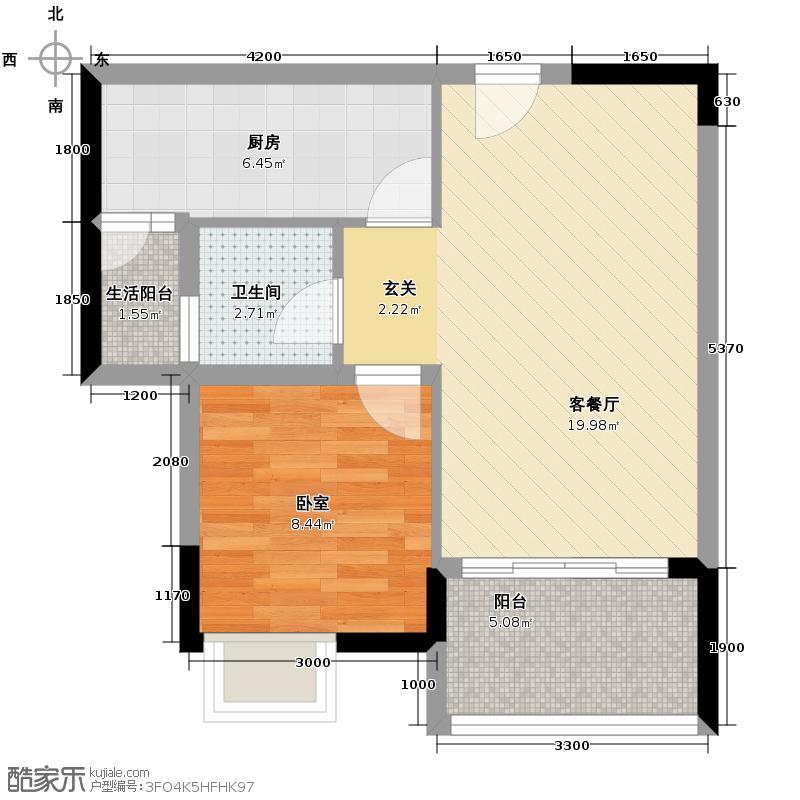 富力城46.70㎡E5栋6号户型1室2厅1卫
