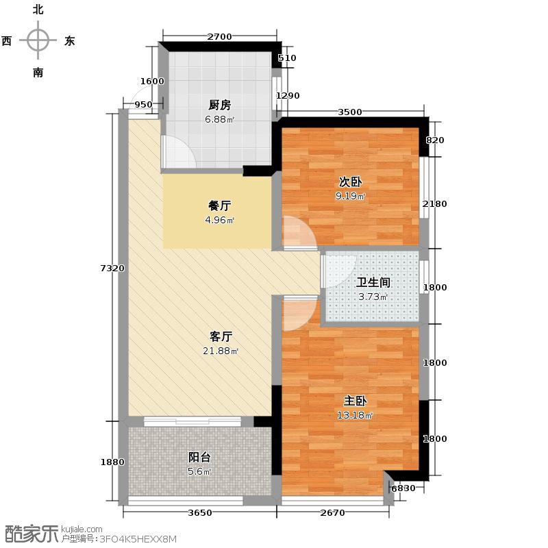 潇湘奥林匹克花园81.00㎡户型2室2厅1卫