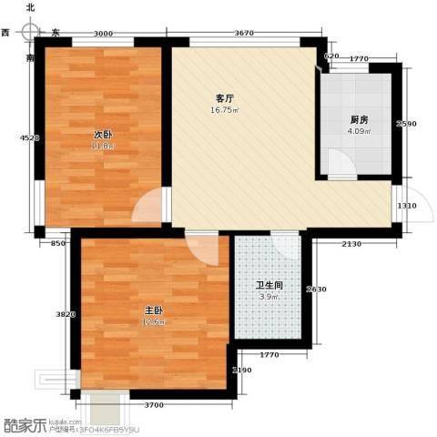西堤国际2室1厅1卫1厨79.00㎡户型图