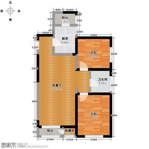 格调艺术领地2室2厅1卫0厨90.00㎡户型图