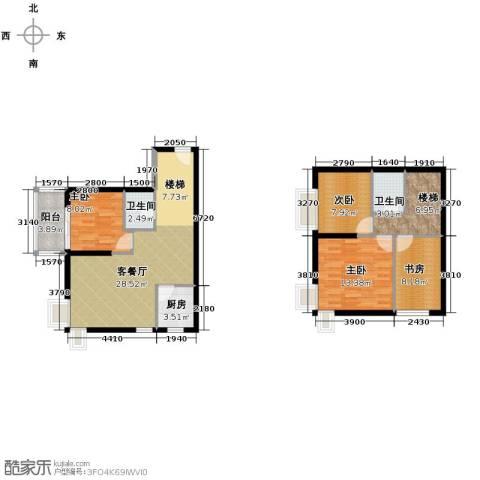 红星美凯城3室2厅2卫0厨97.82㎡户型图
