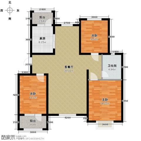 宝境栖园3室2厅1卫0厨124.00㎡户型图