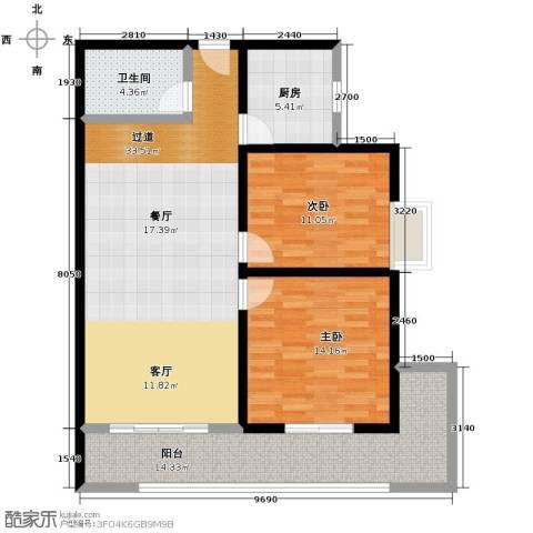 观澜天下2室2厅1卫0厨94.00㎡户型图