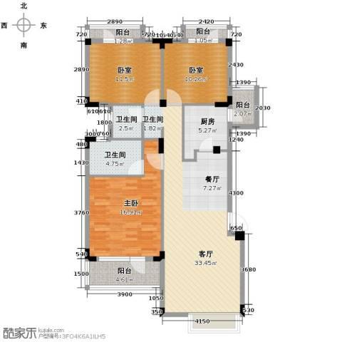 当代国际花园十五区高层3室2厅2卫0厨114.00㎡户型图