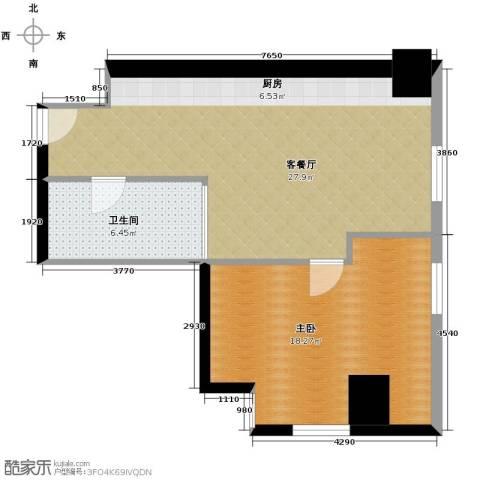 公园18721室1厅1卫0厨89.00㎡户型图