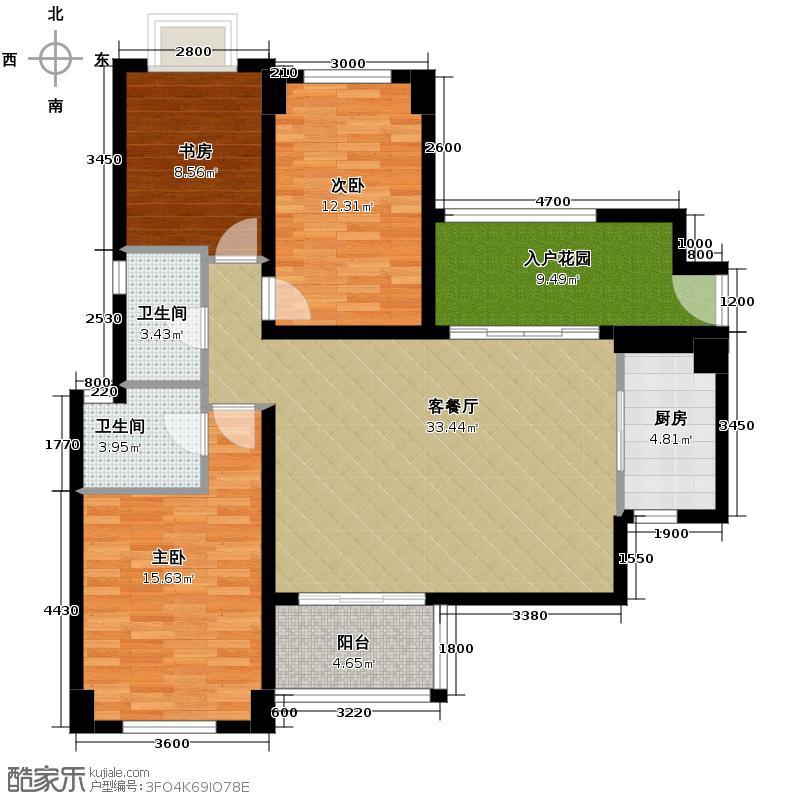 龙湖弗莱明戈91.00㎡D2户型3室1厅2卫1厨