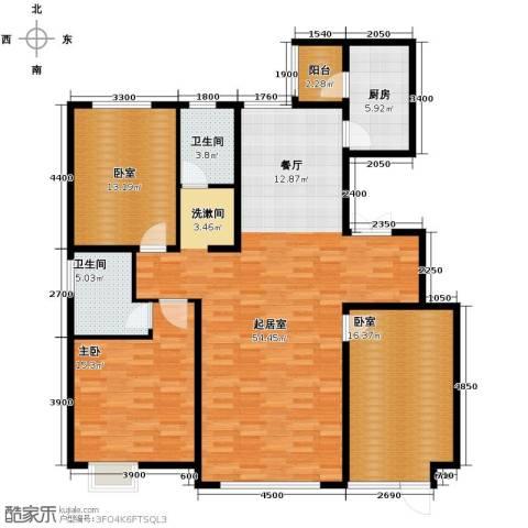 亿利傲东国际3室2厅2卫0厨148.00㎡户型图