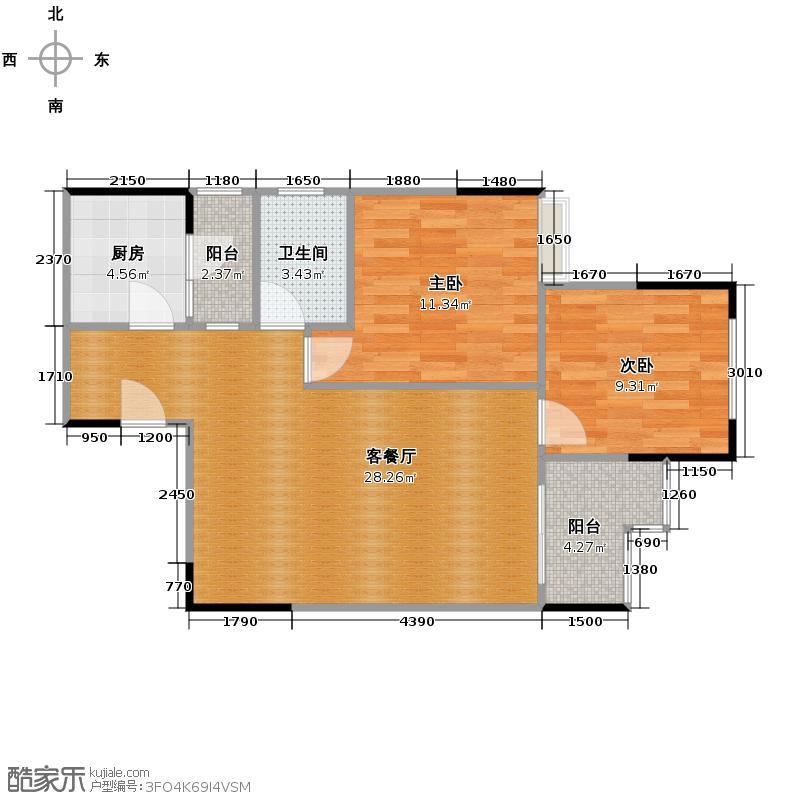金辉融侨城63.00㎡B-2带超大景观阳台户型2室2厅1卫