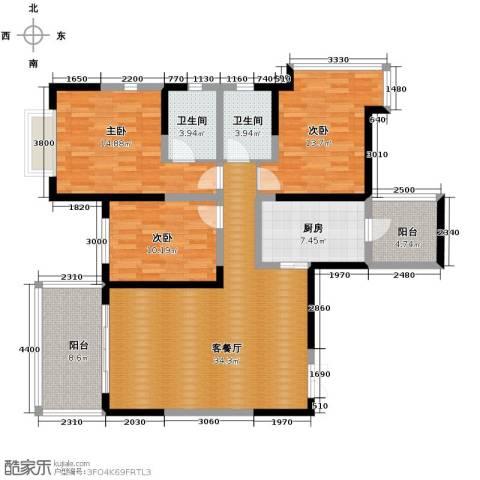 仁和春天国际花园3室2厅2卫0厨127.00㎡户型图