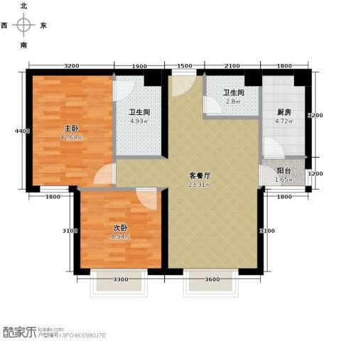 星河1852室1厅2卫1厨91.00㎡户型图