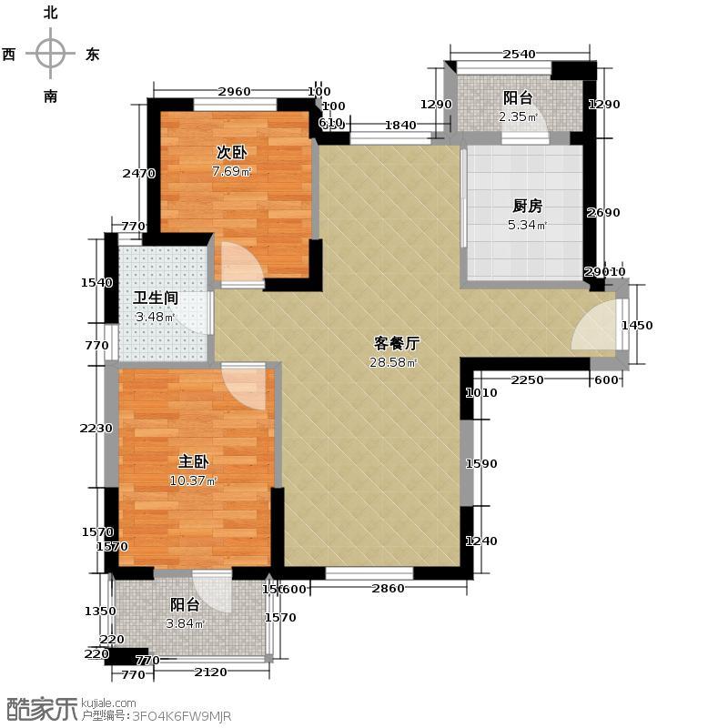 泛海国际居住区悦海园88.00㎡C户型2室2厅1卫