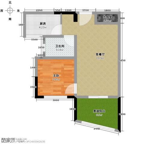 芭厘芭厘1室1厅1卫1厨45.00㎡户型图