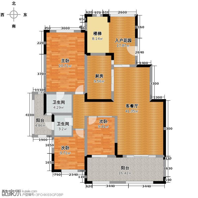 英郦庄园166.39㎡B6二层户型4室3厅3卫