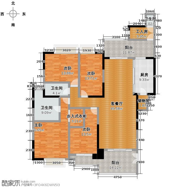 汇景新城221.41㎡E1街区A2栋02单位户型4室2厅2卫