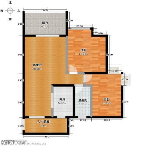 礼顿山1号2室1厅1卫1厨88.00㎡户型图