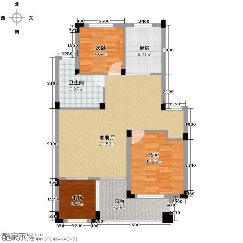 永安圆乡名筑88.00㎡9、12、14号楼(中间套)D户型3室1厅1卫1厨