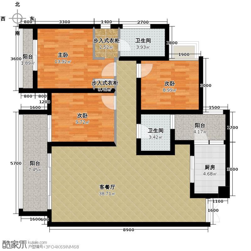 龙湖春森彼岸104.00㎡江天里C2-126层平面图户型10室