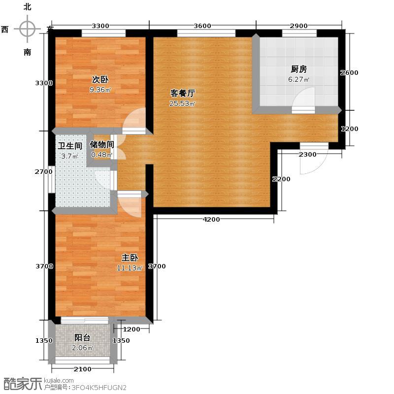 枫丹天城68.78㎡B2-3户型2室2厅1卫