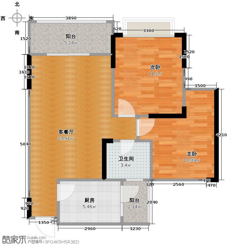 金鹏两江时光64.10㎡3、12幢C10标准层户型2室1厅1卫1厨