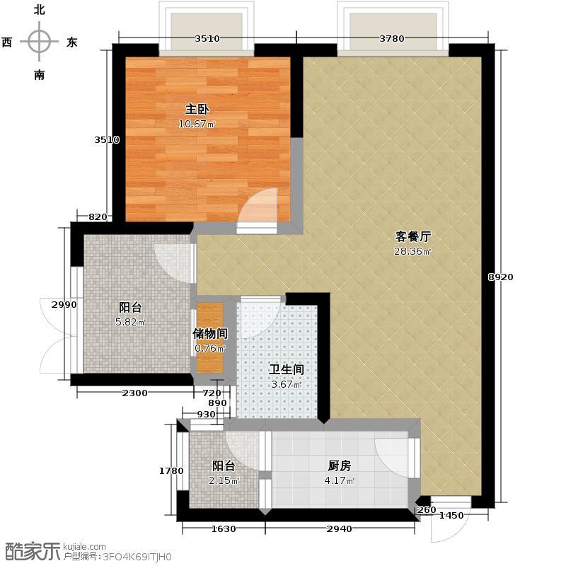 隆鑫西城汇70.00㎡A3带院馆户型1室2厅1卫