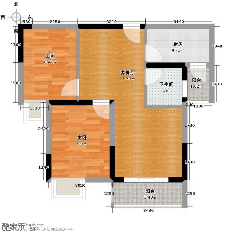 环山国际56.24㎡13号楼19号房+观景阳台户型1室2厅1卫