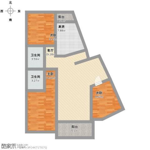 云趣园一区3室1厅2卫1厨125.00㎡户型图