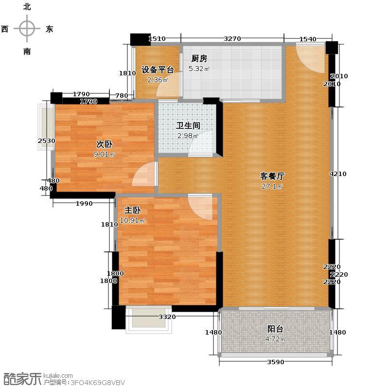 西苑6号77.12㎡户型2室2厅1卫
