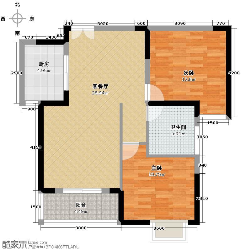 凯乐桂园87.00㎡B2户型2室1厅1卫1厨