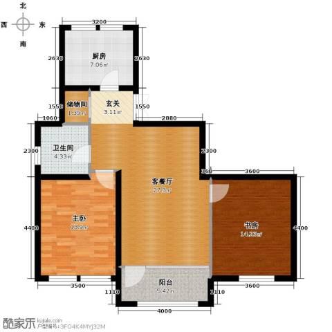 群力玫瑰湾2室1厅1卫1厨73.62㎡户型图